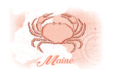 Maine - Crab - Coral - Coastal Icon Posters by  Lantern Press
