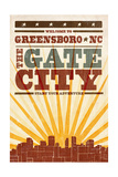 Greensboro, North Carolina - Skyline and Sunburst Screenprint Style Poster by  Lantern Press