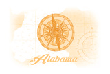 Alabama - Compass - Yellow - Coastal Icon Prints by  Lantern Press