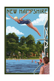 New Hampshire - Woman Diving and Lake Posters by  Lantern Press
