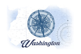 Washington - Compass - Blue - Coastal Icon Prints by  Lantern Press