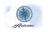 Alabama - Compass - Blue - Coastal Icon Posters by  Lantern Press