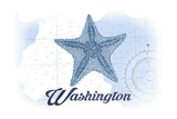 Washington - Starfish - Blue - Coastal Icon Posters by  Lantern Press
