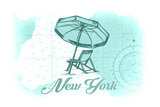 New York - Beach Chair and Umbrella - Teal - Coastal Icon Prints by  Lantern Press