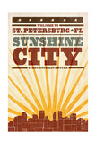 St. Petersburg, Florida - Skyline and Sunburst Screenprint Style Prints by  Lantern Press