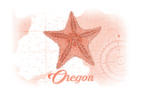 Oregon - Starfish - Coral - Coastal Icon Posters by  Lantern Press