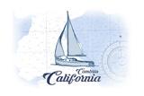Cambria, California - Sailboat - Blue - Coastal Icon Print by  Lantern Press