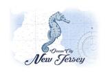 Ocean City, New Jersey - Seahorse - Blue - Coastal Icon Prints by  Lantern Press