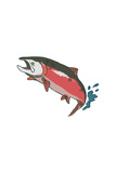 Salmon with Splash - Icon Posters by  Lantern Press