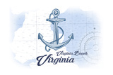Virginia Beach, Virginia - Anchor - Blue - Coastal Icon Posters by  Lantern Press