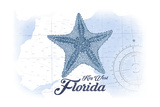 Key West, Florida - Starfish - Blue - Coastal Icon Prints by  Lantern Press