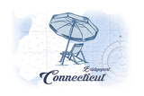 Bridgeport, Connecticut - Beach Chair and Umbrella - Blue - Coastal Icon Prints by  Lantern Press