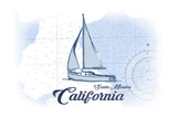 Santa Monica, California - Sailboat - Blue - Coastal Icon Prints by  Lantern Press