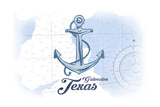 Galveston, Texas - Anchor - Blue - Coastal Icon Prints by  Lantern Press