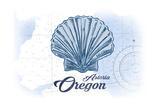 Astoria, Oregon - Scallop Shell - Blue - Coastal Icon Plakater af Lantern Press