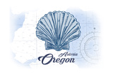 Astoria, Oregon - Scallop Shell - Blue - Coastal Icon Prints by  Lantern Press