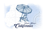 Santa Monica, California - Beach Chair and Umbrella - Blue - Coastal Icon Prints by  Lantern Press