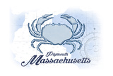 Plymouth, Massachusetts - Crab - Blue - Coastal Icon Prints by  Lantern Press