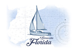 Sarasota, Florida - Sailboat - Blue - Coastal Icon Prints by  Lantern Press
