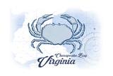 Chesapeake Bay, Virginia - Crab - Blue - Coastal Icon Prints by  Lantern Press