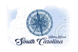 Hilton Head, South Carolina - Compass - Blue - Coastal Icon Prints by  Lantern Press