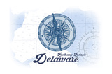 Bethany Beach, Delaware - Compass - Blue - Coastal Icon Posters by  Lantern Press