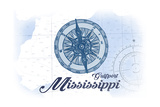 Gulfport, Mississippi - Compass - Blue - Coastal Icon Print by  Lantern Press
