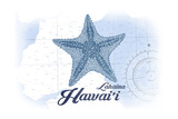 Lahaina, Hawaii - Starfish - Blue - Coastal Icon Posters by  Lantern Press