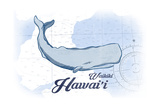 Waikiki, Hawaii - Whale - Blue - Coastal Icon Prints by  Lantern Press