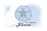 Saint Augustine, Florida - Sand Dollar - Blue - Coastal Icon Poster by  Lantern Press
