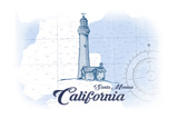 Santa Monica, California - Lighthouse - Blue - Coastal Icon Posters by  Lantern Press