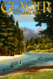 Glacier National Park, Montana - River Rafting Print by  Lantern Press