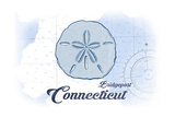 Bridgeport, Connecticut - Sand Dollar - Blue - Coastal Icon Posters by  Lantern Press