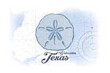 Galveston, Texas - Sand Dollar - Blue - Coastal Icon Poster by  Lantern Press