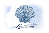 New Orleans, Louisiana - Scallop Shell - Blue - Coastal Icon Prints by  Lantern Press