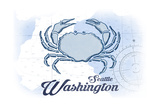 Seattle, Washington - Crab - Blue - Coastal Icon Prints by  Lantern Press