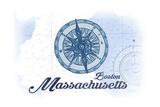 Boston, Massachusetts - Compass - Blue - Coastal Icon Posters by  Lantern Press