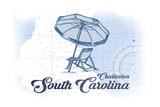 Charleston, South Carolina - Beach Chair and Umbrella - Blue - Coastal Icon Poster by  Lantern Press
