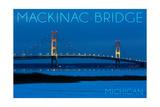 Mackinac Bridge, Michigan - Blue Hour Prints by  Lantern Press