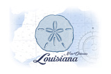 New Orleans, Louisiana - Sand Dollar - Blue - Coastal Icon Posters by  Lantern Press