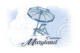 Cambridge, Maryland - Beach Chair and Umbrella - Blue - Coastal Icon Prints by  Lantern Press