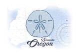 Seaside, Oregon - Sand Dollar - Blue - Coastal Icon Posters by  Lantern Press