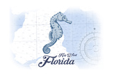 Key West, Florida - Seahorse - Blue - Coastal Icon Prints by  Lantern Press