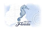 Key West, Florida - Seahorse - Blue - Coastal Icon Prints by  Lantern Press