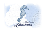 New Orleans, Louisiana - Seahorse - Blue - Coastal Icon Poster by  Lantern Press