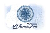Olympia, Washington - Compass - Blue - Coastal Icon Print by  Lantern Press