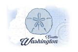 Seattle, Washington - Sand Dollar - Blue - Coastal Icon Prints by  Lantern Press