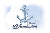 Seattle, Washington - Anchor - Blue - Coastal Icon Posters by  Lantern Press