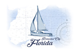 Panama City, Florida - Sailboat - Blue - Coastal Icon Posters by  Lantern Press