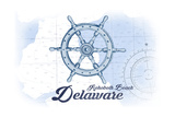 Rehoboth Beach, Delaware - Ship Wheel - Blue - Coastal Icon Prints by  Lantern Press